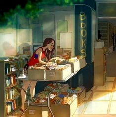 browsing a used bookstore Chillout Zone, Alone Art, Illustrator, Reading Art, Girls Life, Cute Illustration, Aesthetic Art, Cartoon Art, Cute Art