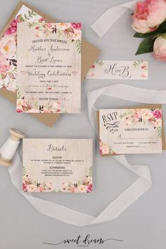 A watercolor wood backdrop gives these invitations a rustic feel. This invitation suite features fun fonts with flowers in shades or pink and blush. Wedding Invitation Fonts, Creative Wedding Invitations, Invite, Diy Invitations, Invitation Ideas, Wedding Stationery, Invitation Cards, Wedding Book, Wedding Cards