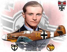 """BF-109 F4 W Nr. 8673 3/JG 27 """"Gelb 14+"""" - Hauptmann Hans-Joachim Marseille """"Stern von Afrika"""", 158 vittorie, 1942"""