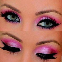 #eye shadow//hot pink with a lite pink shine makeup look