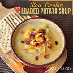 Slow Cooker Potato Soup - a creamy comfort food loaded with ham, bacon, cheese and lots of potatoes. You can easily make this yummy soup in your crockpot or slow cooker. Slow Cooker Recipes, Crockpot Recipes, Soup Recipes, Cooking Recipes, Snacks Recipes, Pastry Recipes, Chili Recipes, Kitchen Recipes, Recipes
