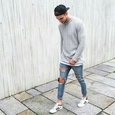 """TRILLEST OUTFIT™ on Instagram: """"◼ Trillest Outfit by: @nilskretschmer20 ________________________________________________ Sweater: Boohoo Shirt: Asos Jeans: Asos Shoes: Adidas"""