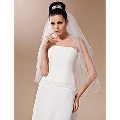 Two-tier Tulle With Pearls Fingertip Length Veil (More Colors) – USD $ 14.39