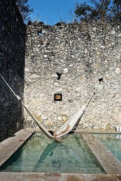 Yucatan, Mexico - A hammock over a pool! Another reason for a hammock.kiddy pool as poor girls poor substitute, but would be nice this summer Outdoor Spaces, Outdoor Living, Outdoor Pool, Outdoor Kitchens, Pool Pool, Diy Pool, Pool Water, Water Bed, Plunge Pool