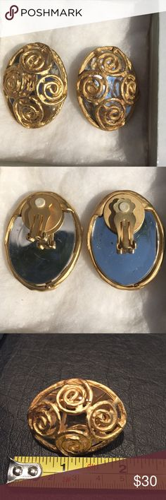 Gold Plated Clip On Earrings Vintage earrings I don't know the brand . I know they are gold plated but I don't know what kind of gold or what they are over . A little in the heavy side Jewelry Earrings