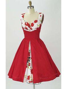 1950s Style Rose Print Shelf Bust Full Skirt Dress- Trashy Diva Vintage Inspired Dresses