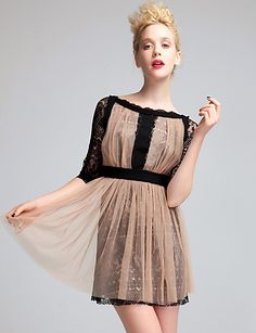 Gathered Perspective Layered Lace Dress