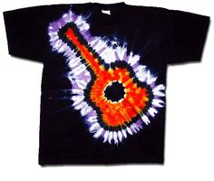 Tie Dye T-shirt Flaming Guitar Adult Unisex Tee Tie Dye T-shirts Whether you like guitars or not, this flaming guitar Tie Dye T-shirt rocks! A very