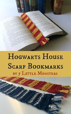 Crocheted Hogwarts House Scarf Bookmark by 5 Little Monsters
