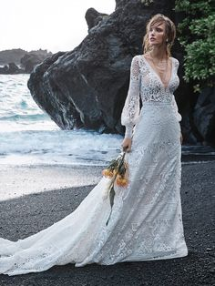 Finley - 25543 - Amazing long sleeve boho wedding gown! Try this beauty on at Aurora Bridal in Melbourne, FL 321-254-3880