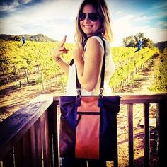 Exploring vineyards in #Napa. Travel is easy when hands free with The Fairfield Tote that converts to a backpack. New from Beau & Ro Bag Company.