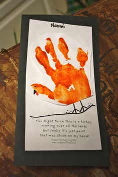 """Ha ha... this is great!  """"You might think this is a turkey, running all over the land, but really it's just paint that was stuck to my hand."""" http://preschool-daze.com/page/2/"""
