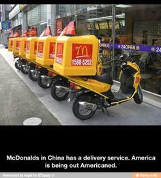 Check out: McDonald's delivery in China. One of our funny daily memes selection. We add new funny memes everyday! Funny Captions, Funny Memes, Hilarious, Jokes, I Love To Laugh, Marketing, Just For Laughs, Laugh Out Loud, The Funny