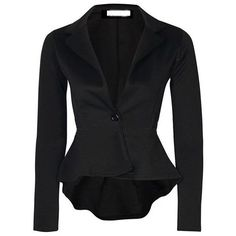 SheIn(sheinside) Blazer à volants -Noir ($21) ❤ liked on Polyvore featuring outerwear, jackets, blazers, tops, black, noir and blazer jacket