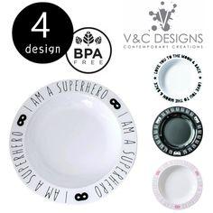 5400円以上で送料無料。キッズプレート Plate (23cm) 4デザイン by V&C Designs モノトーン 白黒 離乳食 ギフト おしゃれ キッズ 子ども プラスティック 食器