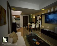 Studio Type Condo, 3d Interior Design, Thing 1, Flat Screen, The Unit, Bedroom, Blood Plasma, Bed Room, Flatscreen