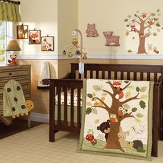 Baby Nursery, : Top Notch Unisex Baby Nursery Room Decoration Using Brown Owl Neutral Baby Bedding Set Along With Owl Wall Sticker Decor And...