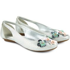 Monsoon Beautiful Sequin Flower Ballerina Shoes ($38) ❤ liked on Polyvore featuring shoes, flats, sequin flats, ballerina shoes, ballet flat shoes, cut out ballet flats and cut-out flats