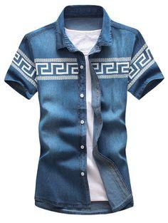 Chic Geometric Print Short Sleeve Slim Fit Denim Shirt For Men | NastyDress.com