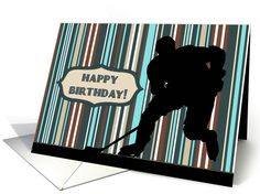 Silhouette hockey player on a striped background for this boy's birthday card. Perfect card for the sports lover.   greetingcarduniverse.com/jjbdesigns   #greetingcard #greetingcarduniverse #greeting #card