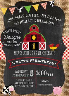 Invitación del cumpleaños la granja granja por SavvyDeetsDesigns