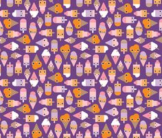 Summer popsicle ice cream cones fabric by Little Smilemakers Studio via Spoonflower - custom fabric, wallpaper and more