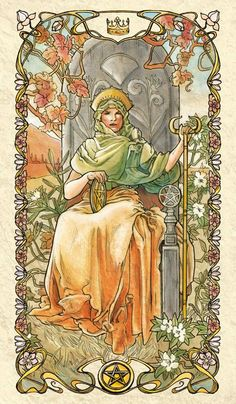 Queen of Pentacles - Tarot Mucha