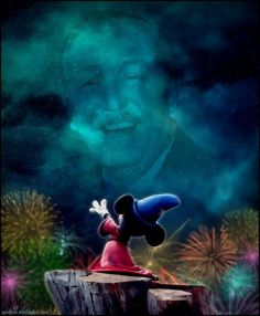 Walt disney is looking down at Mickey Mouse . Mickey Mouse is saying hi to walt disney love this picture of Mickey Mouse and walt disney I am a big disney fan I am a Mickey Mouse and Minnie Mouse tigger all disney things fan Film Disney, Art Disney, Disney Love, Disney Magic, Disney Mickey, Disney Stuff, Disney Artwork, Walt Disney World, Mundo Walt Disney