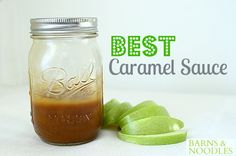 Best Caramel Sauce recipe: cup butter, 2 cups brown sugar, half tsp salt, half tsp corn syrup, 1 tsp baking soda. - easy!