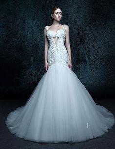 Wedding Dress Train, Tulle Wedding, White Wedding Dresses, Bridal Dresses, Steampunk Wedding Dress, Mermaid Trumpet Wedding Dresses, Cheap Wedding Dresses Online, Dresses Uk, Buy Dress