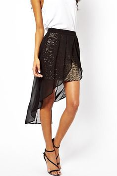 Sequins Decorated Black High Low Chiffon Skirt