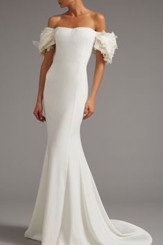 Medium elizabeth kennedy white off the shoulder gown with draped sleeve Wedding Dress Shopping, Best Wedding Dresses, Bridal Dresses, Wedding Gowns, Mermaid Dresses, Dream Dress, Bridal Style, Designer Dresses, Ball Gowns