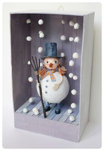Little Treasures: 8 Fabulous Ideas for Christmas Dioramas – Handwerk und Basteln Diy And Crafts, Arts And Crafts, Paper Crafts, Diy For Kids, Crafts For Kids, Snowman Crafts, Winter Art, Christmas Art, Box Art