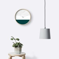 'Marble And Teal' Clocks by ARTbyJWP from Redbubble #clocks #wallclock #walldeco #teal #marble ---- Minimal photo collage of marble texture and bold teal and white colors in stripes. • Also buy this artwork on home decor, apparel, stickers, and more.