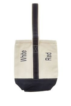 "Tote your favorite wines to your next family function in style with this embroidered natural canvas two bottle wine tote with contrasting trim & Velcro divider.  Measures: 9.5"" H x 6"" W x 2.5"" D  Wine Tote by CB Station. Home & Gifts - Home Decor - Dining - Barware Florida"