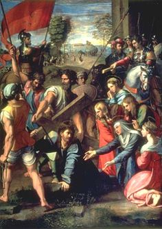 """Simon Takes Up the Cross of Jesus. BIBLE SCRIPTURE: Luke 23:26, """"And as they led him away, they laid hold upon one Simon, a Cyrenian, coming out of the country, and on him they laid the cross, that he might bear it after Jesus."""""""