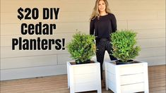 Super easy and inexpensive to make DIY planter boxes! Made primarily with cedar fence pickets, this is a great beginner project and you only need a few basic. White Planter Boxes, White Planters, Wooden Planters, Outdoor Planters, Outdoor Planter Boxes, Porch Planter, Tall Planters, Planter Box Plans, Cedar Planter Box
