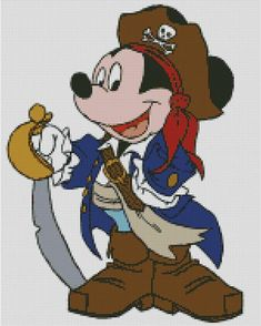 The design is a cross stitch chart of Mickey Mouse the Pirate. No half stitch, No quarter stitch, No back stitch etc. All pictures displayed are virtual stitch pictures generated from the pattern to show exactly how your finished project will look! Disney Magic, Disney Mickey, Mickey Mouse, Sleeping Beauty Cartoon, Cross Stich Patterns Free, Stitch Pictures, Back Stitch, Betty Boop, Needlepoint