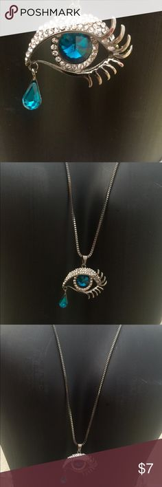 """⚡️COOL & COOL EYE TEARDROP NECKLACE VERY COOL EYE WITH A TEARDROP CRYSTAL. This is such s unique """"eye"""" catching necklace. People will give you a double take. The eye is so realistic and beautifully colored with a crystal teardrop attached to center portion of the eye pendant. I loved it & thought I would wear it often just because it is so unique but sadly no. My loss your gain BUNDLE & BUNDLE LOW SHIPPING THIS WEEKEND PLUS BUNDLE DISCOUNT MAKES IT A P E R F E C T TIME TO BUY Jewelry…"""