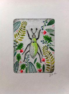Gravure - encre.Invasion végétale. #beetle