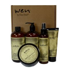 The Wen Hair Care Deluxe Sweet Almond Mint Kit includes: Wen cleansing conditioner, Wen re-moist intensive hair treatment, Wen anti-frizz styling creme, Wen texture balm Conditioning Shampoo, Cleansing Conditioner, Hair Conditioner, Wen Hair Care, Hair Bonnet, Mint Hair, Luxury Hair, Natural Oils, Healthy Hair