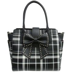 BETSEY JOHNSON Sincerely Yours Studded Bow Tote Bag ($88) ❤ liked on Polyvore featuring bags, handbags, tote bags, purses, black bags, plaid, totes, black plaid, leather zip tote and betsey johnson tote bags