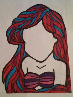 Easy Ariel drawing done with sharpies.