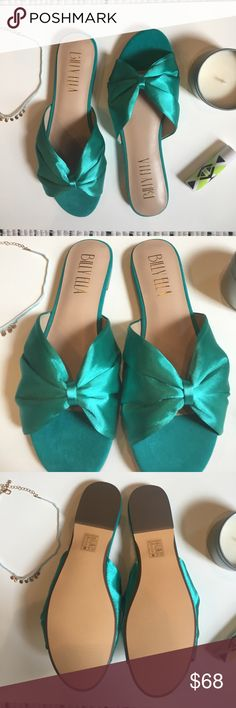 Billy Ella Satin Slide Sandals NWT  Fits true to size Satin upper Leather insole, sole Slip-on styling Anthropologie Shoes Sandals
