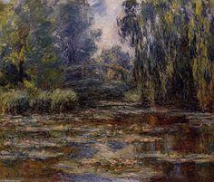 o água-lírio lagoa e ponte, óleo sobre tela por Claude Monet (1840-1926, France)