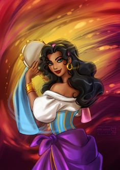 Hunchback of Notre-Dame: Esmeralda--i love her strength. i love her spirit. i don't like when some drawings over sexualize her. this is how she should look to me all the time. just my preference.