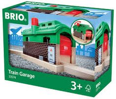 BRIO Train Garage 1 piece train station Turn the bright red knob to open and close the garage door Leave the door up and use as a train tunnel Fits all Brio wooden railways For ages
