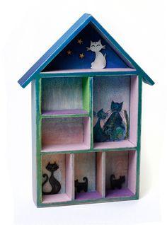 Koci drewniany domek dla lalek, zabawek… - --------NiceThings-------- - Zabawki drewniane