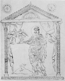 Calendrier de 354: Constantius Gallus dans une copie de la Chronographie de 354.- IVOIRE BARBERINI.2 DESCRIPTION 2.2 PANNEAUX LATERAL, INFERIEUR ET SUPERIEUR, 6: ..ceux de Clément (513) et de Justin (540), le sac d'or est plus largement symbolique de butin de guerre, et constitue ainsi la preuve du triomphe impérial. De même, si le césar GALLUS tient bien une statuette de victoire comparable, dans la représentation qu'en donne le CALENDRIER de 354, il y est vêtu en civil et non en militaire.