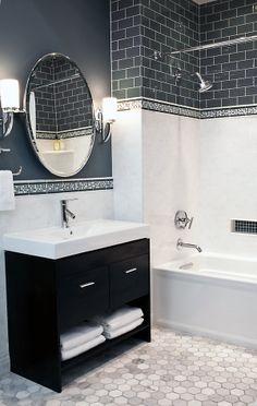 The Tile Shop Carrara Gris 12 x 24 in Glass Smokey 3 x 6 in Hampton Carrara Hex 3 x 3 in Bathroom Sink Design, Bathroom Renos, Bathroom Flooring, Bathroom Ideas, Funky Bathroom, Bathroom Tiling, Bathroom Colors, Bath Ideas, Bathroom Storage